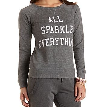 Sparkle Graphic Crew Neck Sweatshirt by Charlotte Russe - Charcoal