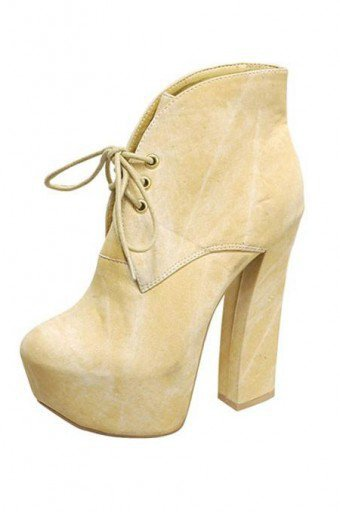 YELLOW STYLISH LACE UP BOOTIE @ KiwiLook fashion