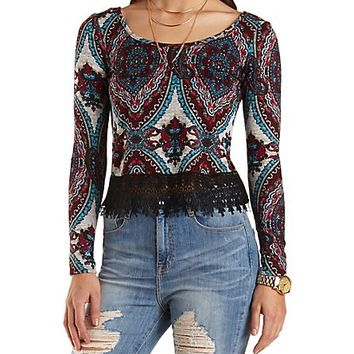Lace Trim Medallion Print Crop Top by Charlotte Russe - Burgundy Cmb