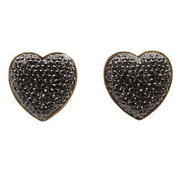 Faceted Stone Heart Button Earrings by Charlotte Russe - Black