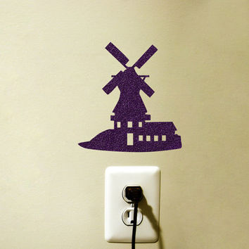 Dutch Windmill Velvet Decal - Purple Fabric Wall Sticker - Wind Mill Nursery Decoration