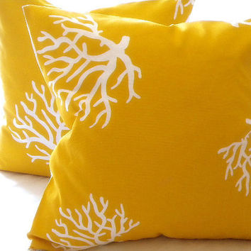 Throw pillow cover yellow/ White Coral indoor/outdoor beach  20 x 20