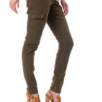 Motherhood Maternity: Secret Fit Belly(tm) Twill Cargo Pockets Skinny Leg Maternity Pants