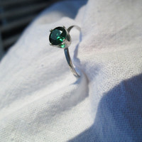 Emerald Ring, Sterling Silver Ring, Handforged ring, Hammered Silver Ring, Lab Grown Emerald