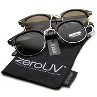 Vintage Half Frame Semi-Rimless Horn Rimmed Style Classic Optical RX Sunglasses (2-Pack)