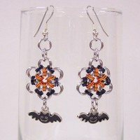 Halloween earrings black bats chainmaille black silver flower