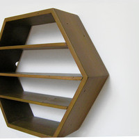 Hexagon Shelf Dark Gold Geometric Rustic Shelving by Junglai