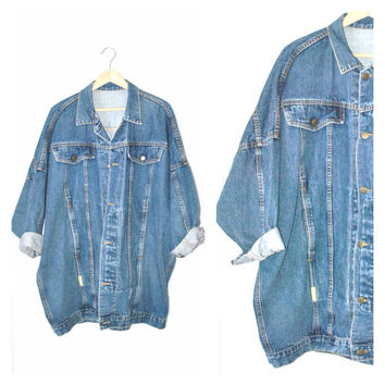 GRUNGE long DENIM jacket / vintage early 90s relaxed fit MINIMALIST Hollywood jean coat os