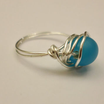 Silver Wrapped Blue Ring