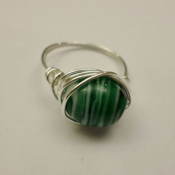 Silver Wrapped Green Stripe Ring