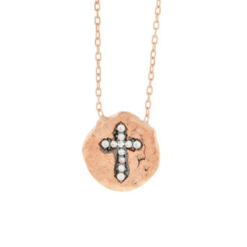 Beverly Madison Jewelry Rose Gold Plated CZ CROSS Necklace