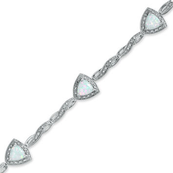 6.0mm Trillion-Cut Lab-Created Opal Bracelet in Sterling Silver with Diamond Accent - 7.25