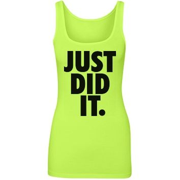 just did it neon yellow tank top - Customized Girl