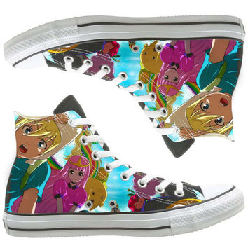 Adventure Time custom painted shoes, custom shoes by natalshoes