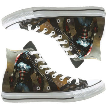 Captain America custom painted shoes, custom shoes by natalshoes