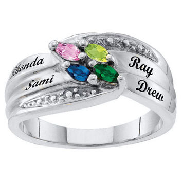 Mother's Personalized Marquise Birthstone Ring in Sterling Silver (2-6 Stones and Names)