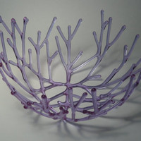 Twigs Delicate handmade glass branch and twig bowl of transparent lavender fused glass.