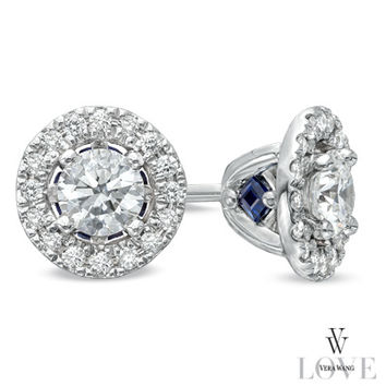 Vera Wang LOVE Collection 1/2 CT. T.W. Diamond Frame Stud Earrings in 14K White Gold