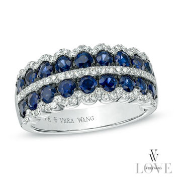Vera Wang LOVE Collection Blue Sapphire and 1/3 CT. T.W. Diamond Double Row Anniversary Band in 14K White Gold