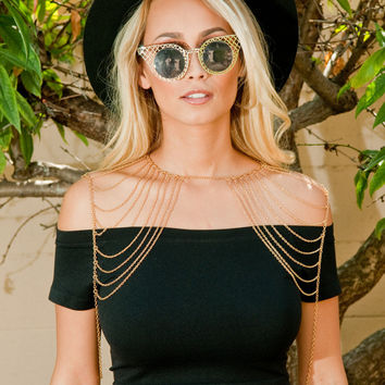 So Queen With it Shoulder Chain Harness – Gold Soul