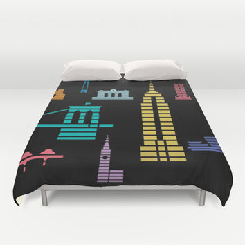 New York Skyline Empire State Poster Black Duvet Cover by Christopher Dina