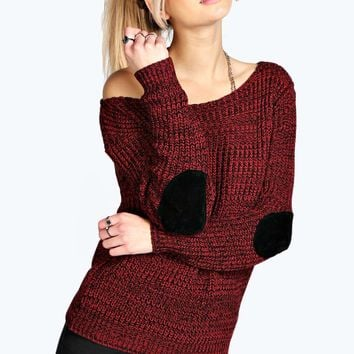 Shauna Slash Neck Elbow Patch Jumper - Boohoo