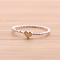 tiny HEART ring with twisted band, in 925 sterling silver