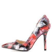 Floral Print D'Orsay Pumps by Charlotte Russe - Pink Multi