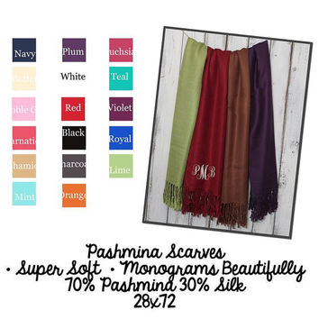 Custom Monogrammed Pashmina Scarves - Beautiful Christmas gift!