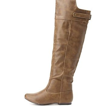 Qupid Flat Knee-High Boots by Charlotte Russe - Taupe
