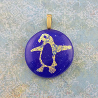 Penguin Pendant, Royal Blue Pendant, Gold Penguin, Omega Slide, Large Gold Bail - Happy Dance - 3473 -4