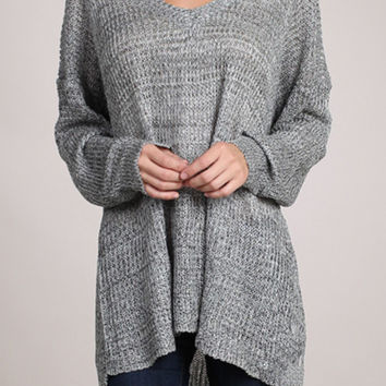 Oversized V-Neck Sweater - Grey