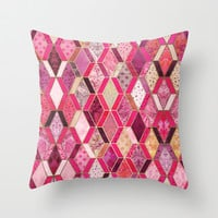 Wild Pink & Pretty Diamond Patchwork Pattern Throw Pillow by Micklyn
