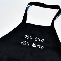 Stud Muffin Black Cotton Mens Grilling Apron by YellowBugBoutique