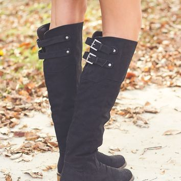 Distressed Knee High Boots $50.00
