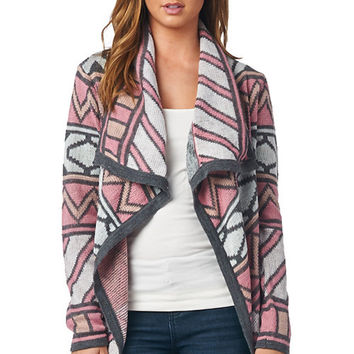 Charcoal Gray and Pink Geo Cardigan