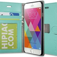 iPhone 6 case - INVELLOP iPhone 6 case cover slim Leather Wallet case (Teal)