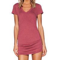 Saint Grace V Neck with Shirring Dress in Red