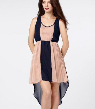 Contrast Pleat Dress