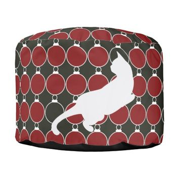 Cool Elegant Playful Cat Red and Black Christmas Modern Chic Round Poufs for Cat Lovers