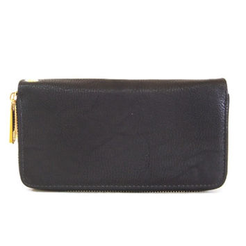 Double Zip Wallet Clutch - Black, Brown, Pewter, Red or Navy Blue