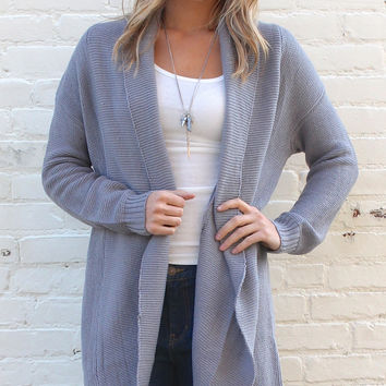 Cloudy Skies Textured Knit Oversized Collar Cardigan - Gray