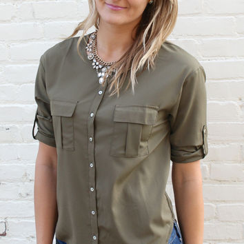 Weekday Warrior Button Down Blouse with Pleated Pockets - Olive Green