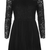 Pleated Lace Victoriana Dress - Black