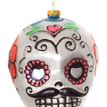 Sugar Skull Stache Ornament - PLASTICLAND