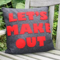LET'S MAKE OUT  charcoal and red 16 inch by alexandraferguson