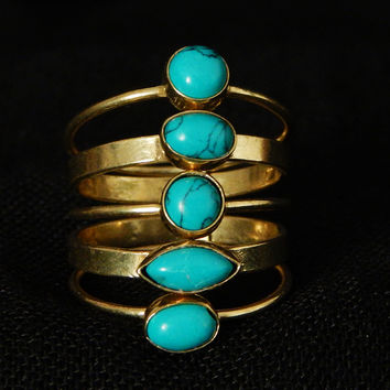 Turquoise Ring, Brass Statement ring,Indian Ring