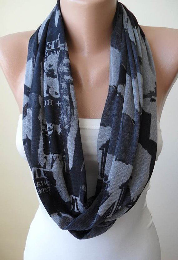 Light and Dark Grey - Infinty - Circle -  Loop Scarf