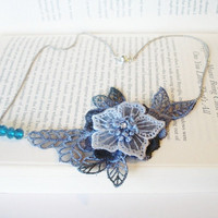 Lace Necklace, Women accessory,  3D Flower, Blue, Teal