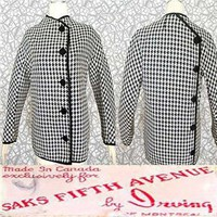 Saks Canada Hounstooth Jacket with quilted lining